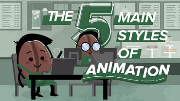 Animated Starbucks bean characters created by VMG Studios with the kinetic text The 5 Main Styles of Animation
