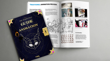 A mockup book design for The Marketer's Guide to Animation eBook produced by VMG Studios